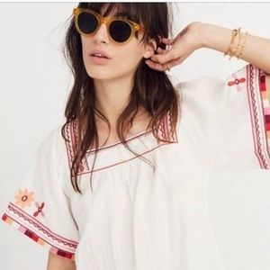 Madewell Embroidered Sandblossom Top Size Small